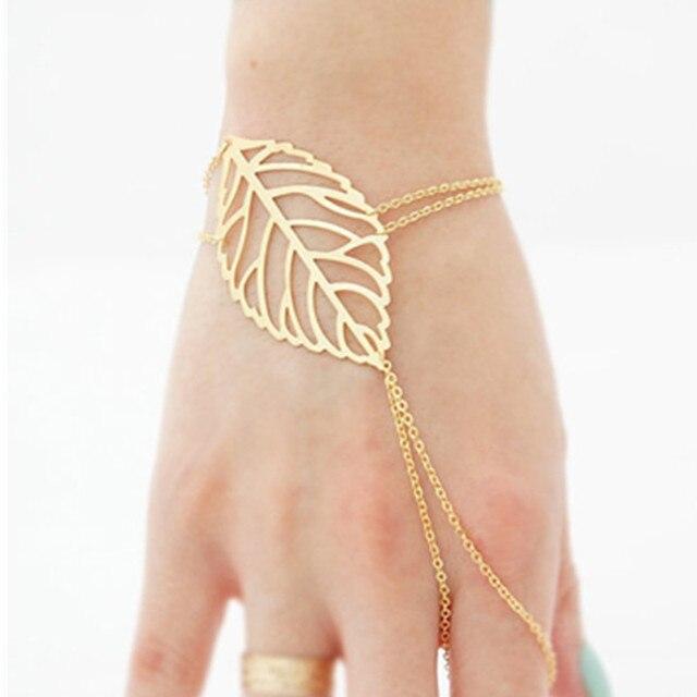 Trendy Slave Gold Color Bracelet Hand Palm Bracelet Connected Finger Vine Leaf Chain Bracelet with Finger ns7