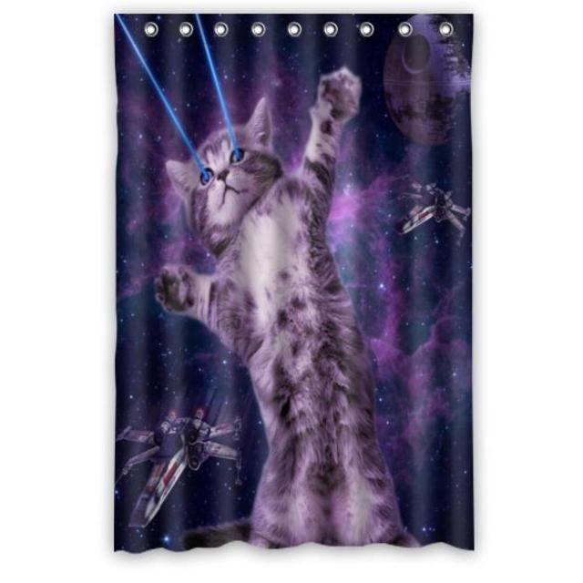 Galaxy Hipster Cat Space Nebula Polyester Bathroom Custom Shower Curtain Decor 48