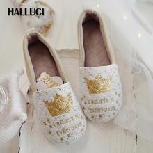 HALLUCI golden crown kawaii home slippers women shoes polar cute heel cover indoor simple primipara shoes flats women loafers