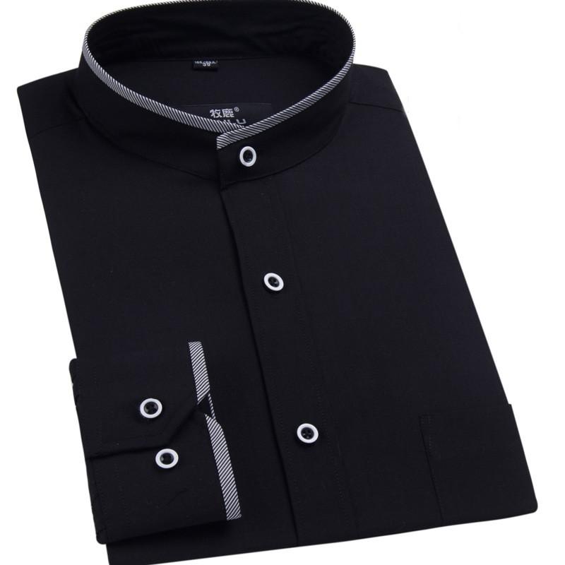2017 New Mandarin Collar Mens Dress Shirt Fashion Brand