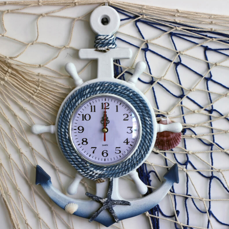 The Mediterranean Anchor Seagulls Wall Clock Wooden