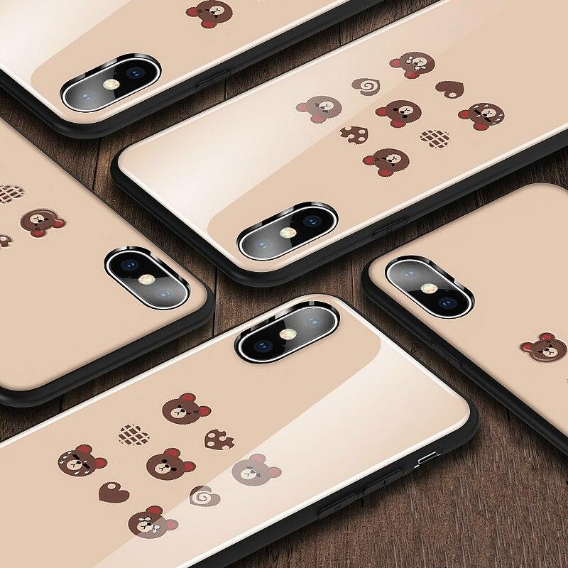 Y-ZU чехол для телефона iPhone 6 6s 7 8 6/7/8 plus X Прекрасный Медвежонок ручной основа Стекло набор Мультфильм силиконовый край защиты