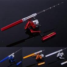 HOT ! Pen Rod Mini Telescopic Ice Fishing Rod With Fishing Reel  Portable Pocket Aluminum Alloy Pen Fishing Rod