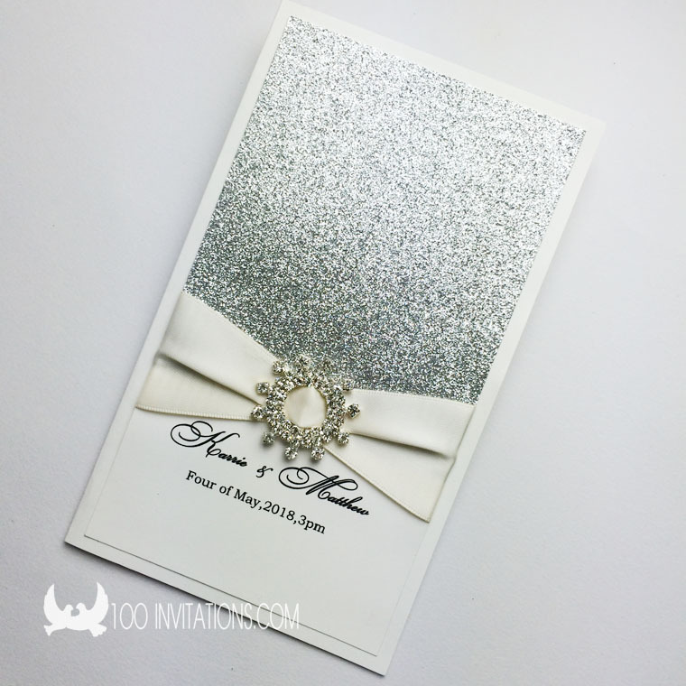 Silver Glitter Wedding Invitations Vertical Side Fold With Rhinestone Embellishment In Cards From Home Garden On
