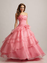 2014 Strapless Small Handmade Flowers Pretty Turq Pink Quinceanera Dresses Gowns