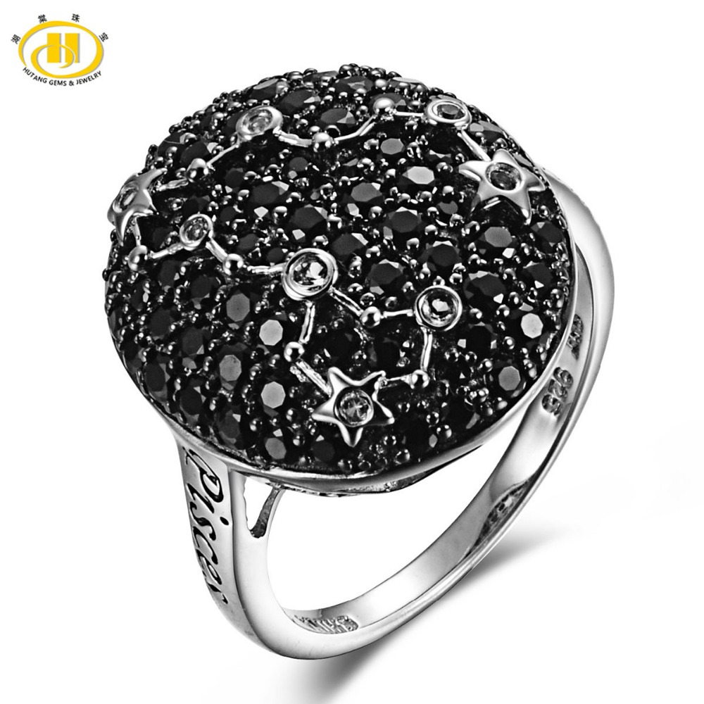 Hutang Pisces Zodiac Sign Black Spinel & White Topaz Ring Solid 925 Sterling Silver Fine Jewelry Birthday Gift Women's