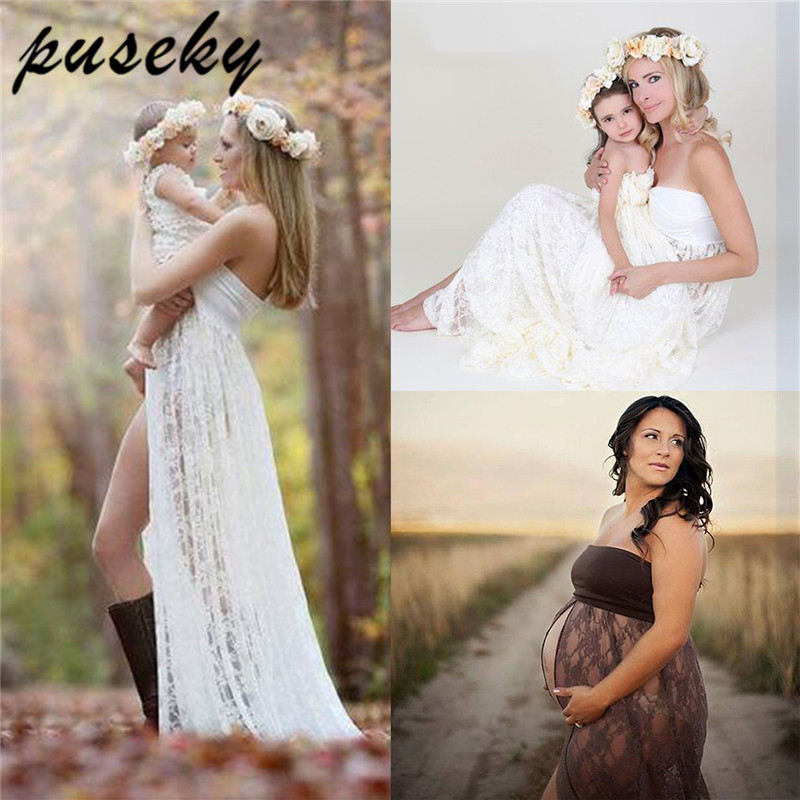 купить Puseky Maternity Dress For Photo Shooting Sleeveless Lace Maxi Dress Photography Props Stretch Vestidos Pregnant Dresses недорого