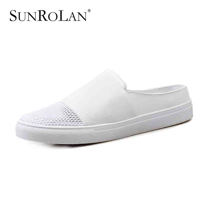 ФОТО SUNROLAN 2017 Leisure Mesh Slippers Women Wedges Sandals Slip-on Round Toe Spring Summer Shoes Woman Comfortable Sandals 867