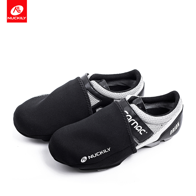 NUCKILY Cycling Sport Shoes Cover Windproof Abrasion Resistant Fabric Road Bike Toe Cover Warm Cycling Equipment Half Overshoe