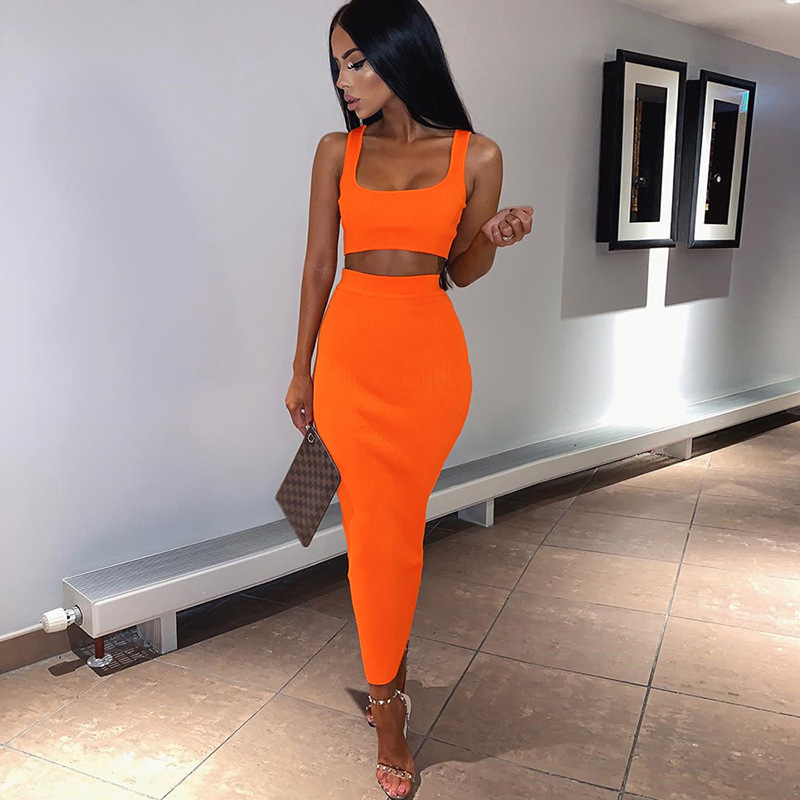 Cryptographic Neon Fashion Sleeveless Crop Tops Women 39 s Sets Sexy Two Pieces Set Sexy High Waist Bodycon Skirts Ribbed Knitted in Women 39 s Sets from Women 39 s Clothing
