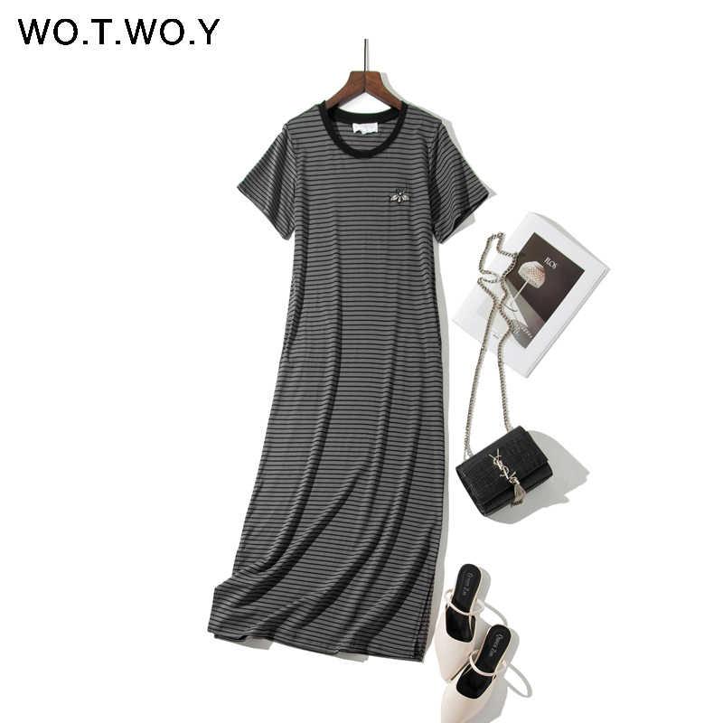 WOTWOY длинные черные полосатые платья с вышивкой пчелы женские 2019 Летние повседневные Прямые платья-рубашки длиной до щиколотки женские большие размеры Jurk