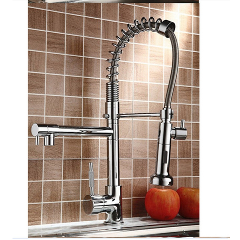 Uythner Chrome Basin Kitchen Faucet Pull Out Dual Spouts Spring Brass Kitchen Faucet Hot And Cold Mixer Tap Deck Mounted