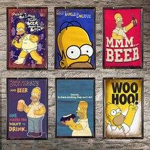 Cerveza carteles de hojalata vintage casa Bar Club Pub Casa de Metal placas de Metal decorativas cerveza pegatinas de pared de Simpsons cartel 30x20cm