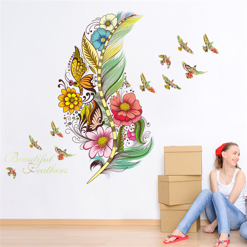 1PCS Feather Bird Butterfly Flower Wall Stickers DIY For Living Room PVC Room Decals Mural Home Decoration 45 60CM in Wall Stickers from Home Garden