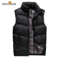 UNIVOS KUNI New 2017 Autumn Winter Man Vests Leisure Fashion Feather Cotton Warm Sleeveless Jackets Man