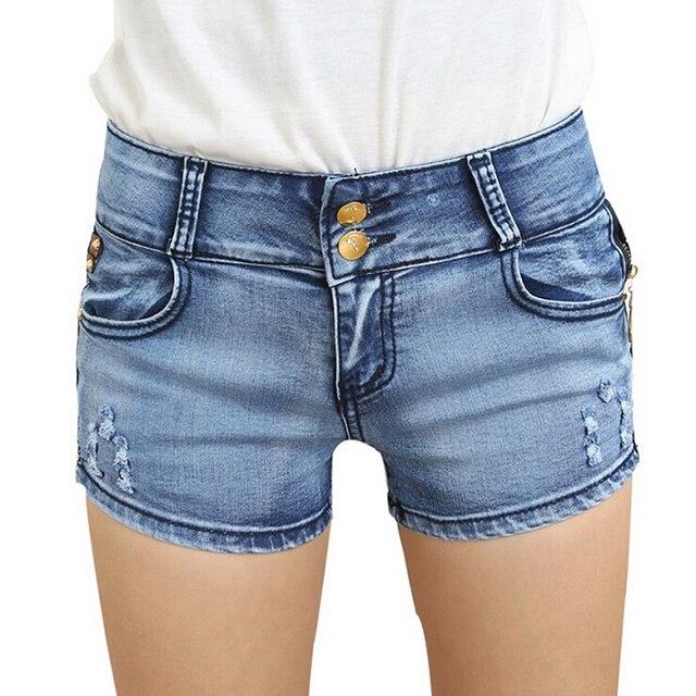 Shorts Women Jeans,2017 Bleached Denim Short Pants Jeans Sexy Plust Double Buttons Clamping Shorts Plus Size Woman Clothing