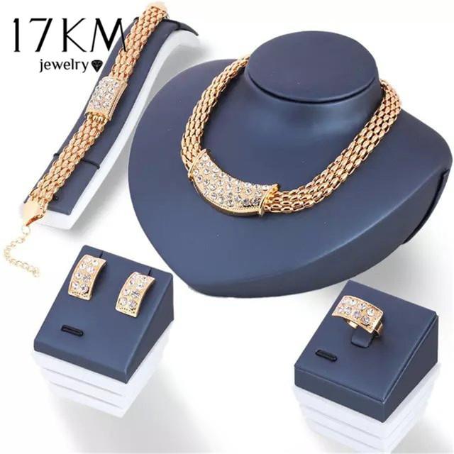 17KM 2017 Vintage Flower Crystal Jewelry Sets African Bead Beads Statement Necklace/Earrings/Ring/Bracelet Women Wedding Jewelry