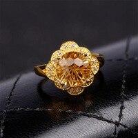 Fashon jóias Semi-pedras preciosas anel da mão decoração fabricantes atacado ouro prata Anel de cristal natural amarelo