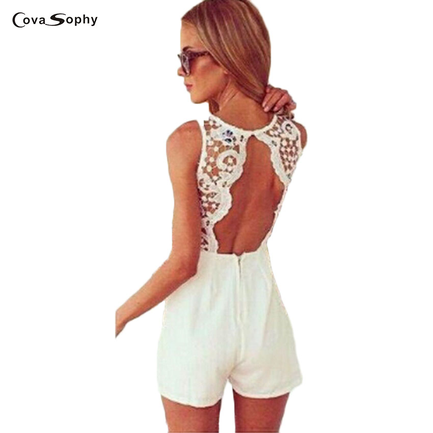 Covasophy Women Summer Sexy Jumpsuit Sleeveless Flower Lace Playsuits Solid Colors Halter Black