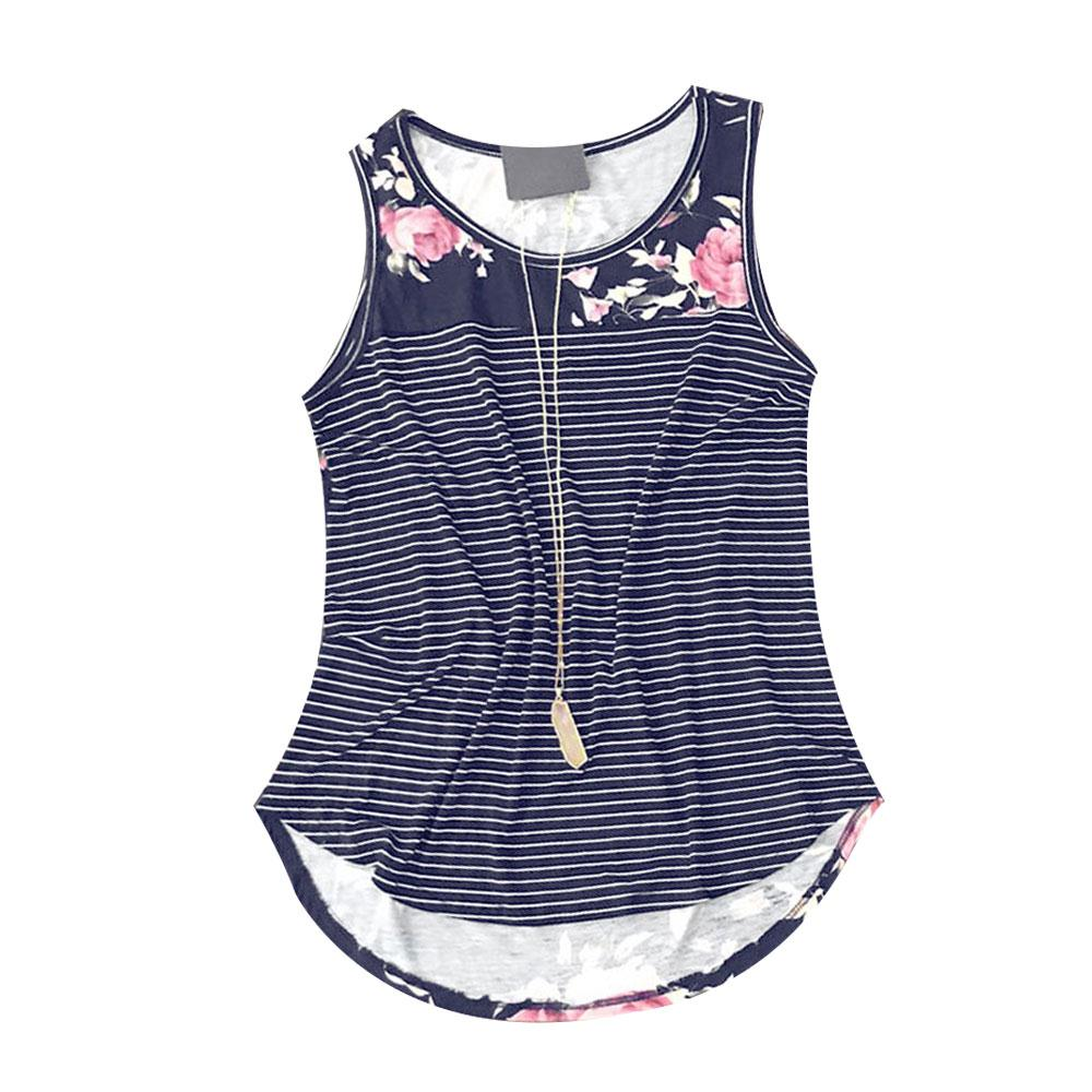 Women Tank Tops O Neck Sleeveless Floral Print Top Summer 2018 Casual Vest Loose Female Fashion Pretty Splicing Tee