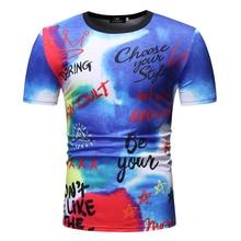 купить Men Women t shirt 3d t-shirt Blue Tee Shirts Casual Letter Printed Short Sleeve Tshirt Plus size Fashion Hip Hop Streetwear Tops дешево