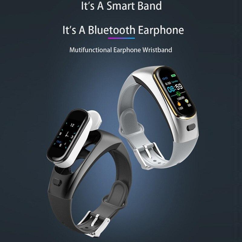 Bluetooth couleur casque parler bande intelligente Bracelet moniteur de fréquence cardiaque sport montre intelligente passomètre Fitness Tracker Bracelet