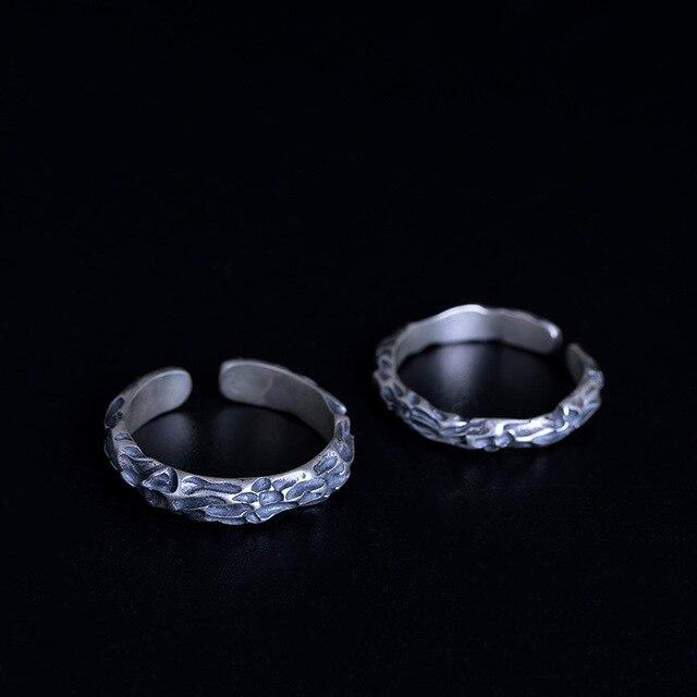 Фото 100% 925 пробы с серебряной текстурой камня открытые кольца
