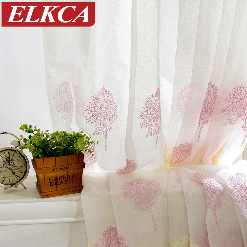 Korean White Embroidered Voile Curtains Linen Feeling Sheer Curtains for Living Room Modern Tulle Curtains for Living Room Tree