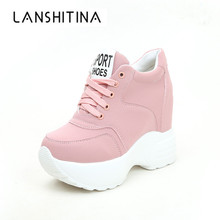 Spring 12CM Heels Wedges Breathable Woman Height Increased Shoes Autumn Women Sneakers Mesh Casual Platform Trainers White Shoes women s casual shoes 2019 foreign gas spring and summer breathable mesh red wild wedges with increased shoes