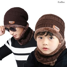 1f6867b5fc4 Boys Kids Winter Knitted Hat Scarf Set Beanies Dad Baby 2018 Thick Warm  Fleece Mask Cap