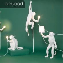 Artpad Lovely Monkey Sit Stand Resin Led Pendant Light White Black Golden with Hemp Rope Living Room Bedroom Hanging Lamp