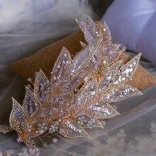 手作りきらめくブライダルバレッタティアラ調整ヘッドバンドイブニングヘッド磨耗結婚式のヘアアクセサリー