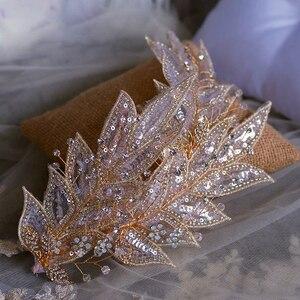 Image 1 - Broche para novia brillante hecho a mano, diademas ajustables, ropa para la cabeza de noche, accesorio para el cabello de boda