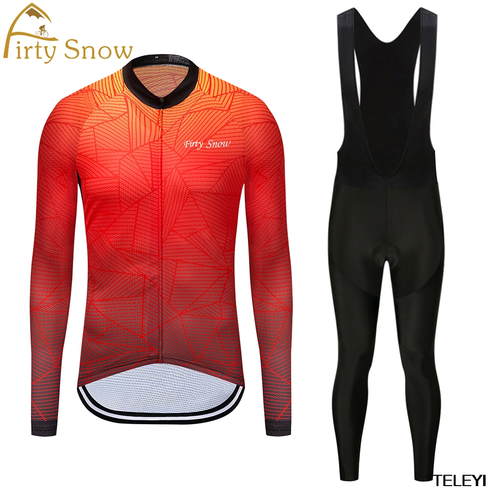 firty snow Mens Cycling Jersey sets long Sleeve Outdoor Sports black Bicycle Cycle Clothing Quick Dry Riding Clothes black set