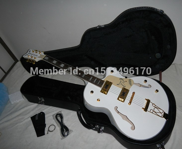 Factory Custom White Gretsch Falcon 6120 Semi Hollow Body Korean Tuners Electric Guitar With hard case