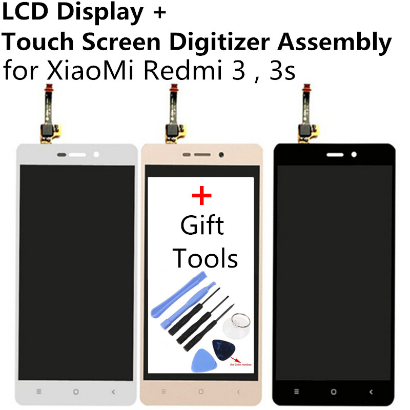 LCD Display + Touch Screen Digitier For Xiaomi Redmi 3 redmi 3S Hongmi 3 hongmi 3S gold TouchScreen Touch Panel Glass Gift Tool