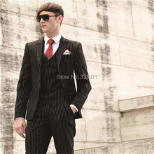 Custom Made One Button Black stripe Groom Tuxedos Best man Groomsman Men Wedding Party Suits Bridegroom