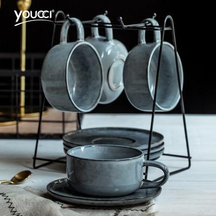 European Small Luxury Drinkware Ceramic Coffee Cup Nordic Minimalist Mug With Milk Coffee Saucer Spoon Shelf Kit Set