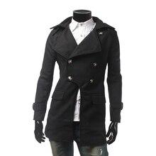 Вновь Прибывшие 2016 Осень Горячий Продавец высококачественные Новая Мода Мужская Шерстяное Пальто Slim fit Двубортный Мужской Моды Пальто мужчины