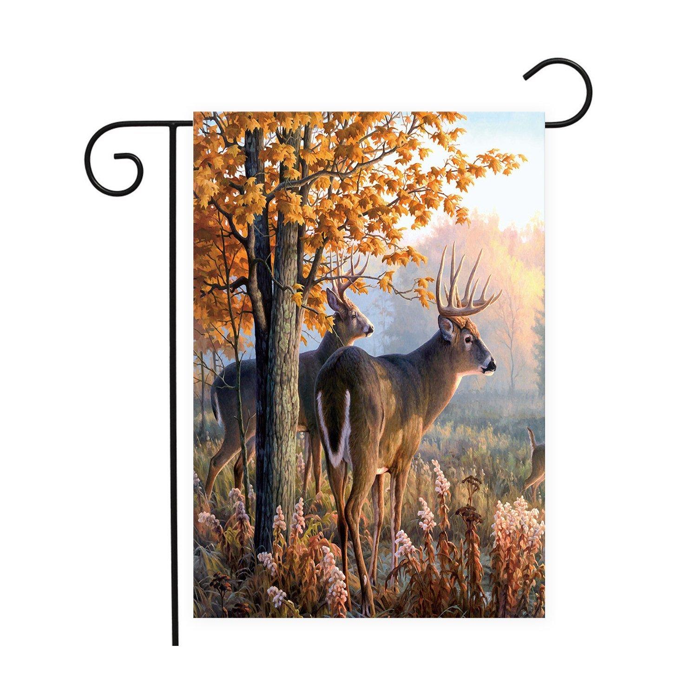 Garden Decor Deer: Forest Rustic Deer Garden Flags House Decor Mini Yard