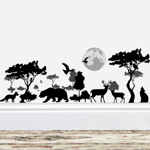 African Steppe Night Scenery Animal Wall Stickers Bear Wolf Deer Fox