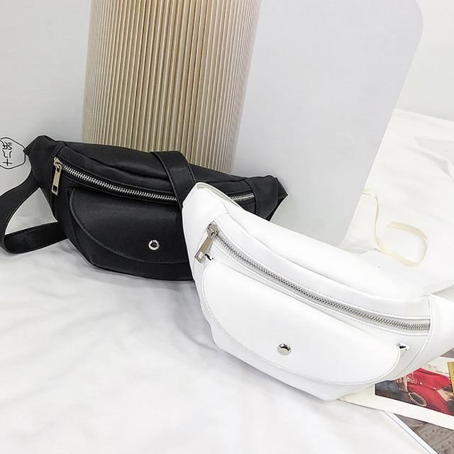 Simples Pure Color Mulheres Mini Messenger Bag Couro PU Meninas bolsa de Ombro Ocasional Sacos Pequenos do Sexo Feminino Saco Da Cintura Bolso Cintura MujerHW