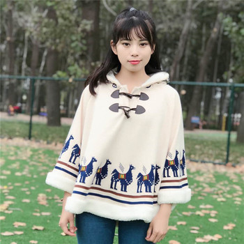 Japanese Mori Girl Vintage Retro Hippie Boho Cute Print Giraffe Loose Women Cloak Thick Fleece Warm Winter Hooded Jacket Coat