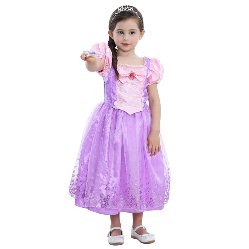 VOGUEON Girls Rapunzel Dress Kids Puff Sleeve Summer Floral Princess Cosplay Costume Little Girl Prom Party Dress for 3-9 Years floral print puff sleeve fit