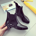 2016 black rain boots women flats ankle boots fashion rubber ankle boots woman four season women rainboots botines mujer flats