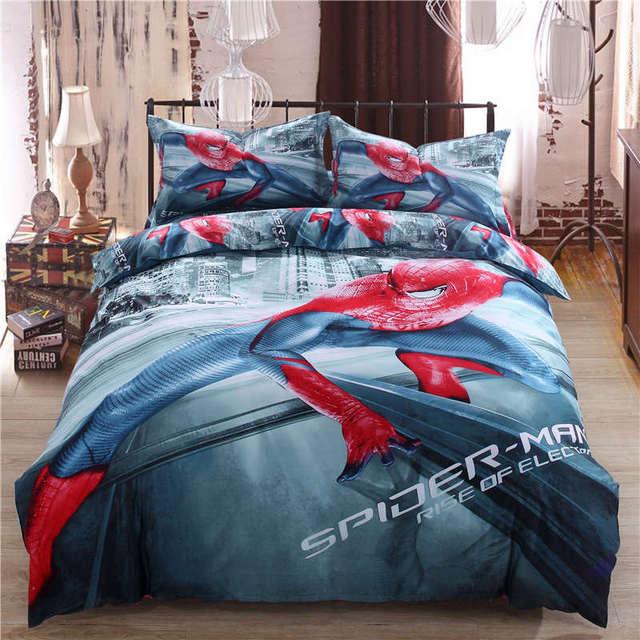 3D bedding set spider man pillowcase kid disney home textile queen size bed set egyptian cotton bedroom decor 4pc bed linen boys
