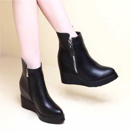 ФОТО 2016 New Fashion Women Shoes Winter High Heel Boots Martin Boots Waterproof High-Heeled Wedge Short Boots S3235