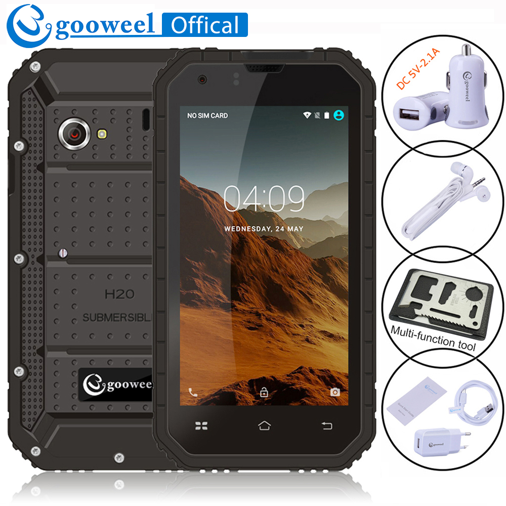 Gooweel GW6000 Mobile phone IP68 Waterproof Quad Core 4 5inch IPS Corilla Glass Android unlocked smartphone