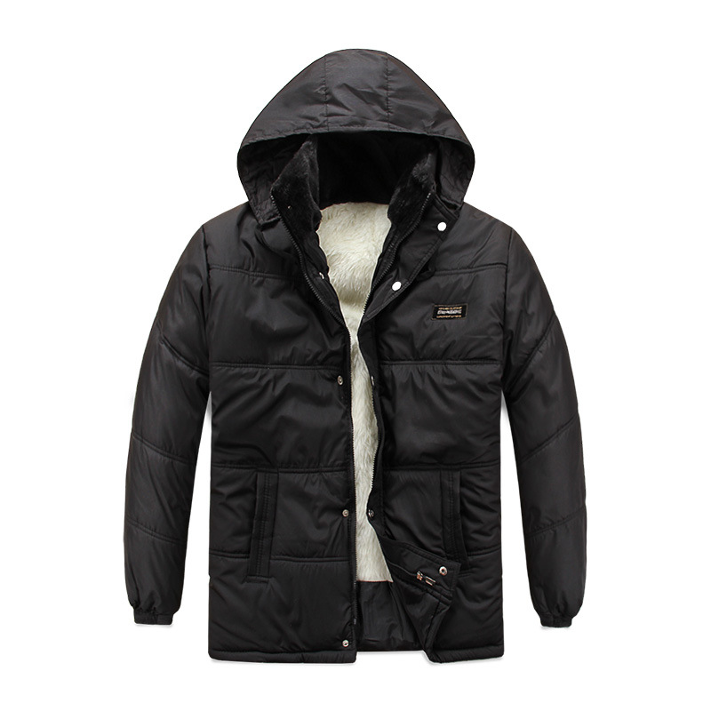 Men s Jacket Winter Fashion Casual Stand Thick Velvet Solid Pocket Zipper Single Breasted Warm Hooded