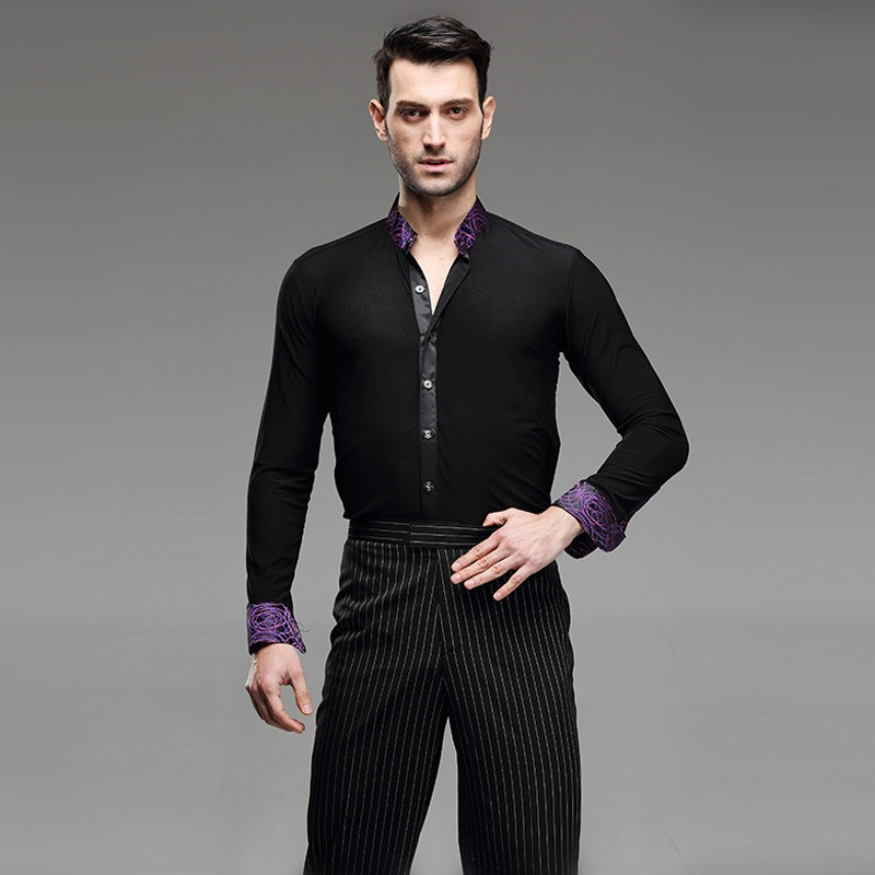 Picture of 5 Color Ballroom Dance Shirt Mens Latin Shirt Mens Ballroom Shirts Mens Latin Dance Costumes Dance Top Mens Ballroom Dancewear